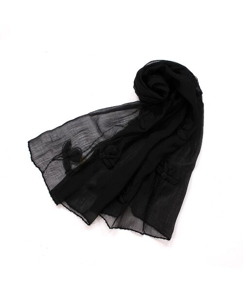 PISANO / ピサーノ マフラー・ショール・スヌード・ストール | ビーズフラワー刺繍オーガンジーストール | 詳細2
