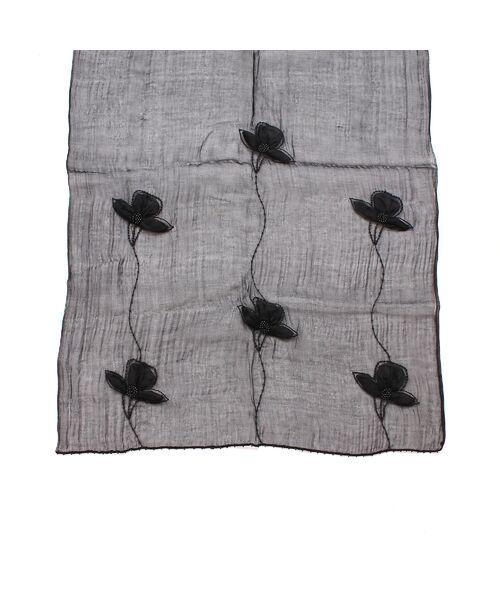 PISANO / ピサーノ マフラー・ショール・スヌード・ストール | ビーズフラワー刺繍オーガンジーストール | 詳細4
