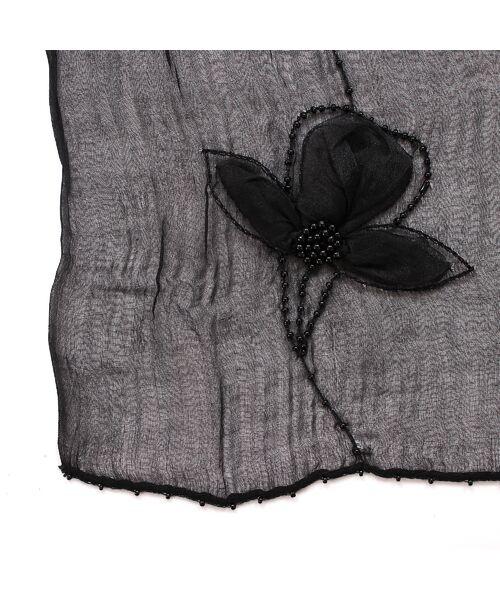 PISANO / ピサーノ マフラー・ショール・スヌード・ストール | ビーズフラワー刺繍オーガンジーストール | 詳細5