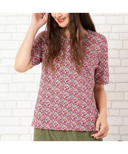 PISANO / ピサーノ カットソー | リバティプリント・コットン天竺クルーネックTシャツ(レッド)