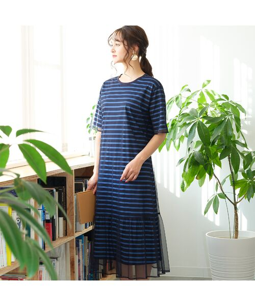 PISANO / ピサーノ ミニ丈・ひざ丈ワンピース   ボーダー&チュールレイヤードワンピース(ダークブルー)