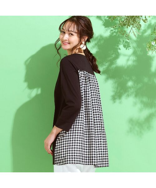 PISANO / ピサーノ カットソー | プレミアムコットン・ギンガムチェックコンビTシャツ(ブラック)