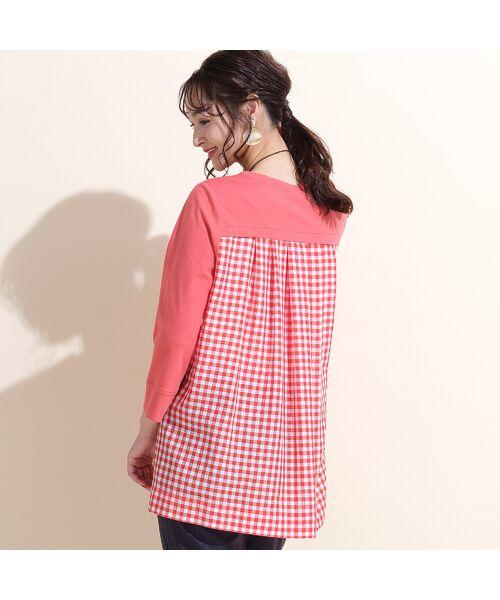 PISANO / ピサーノ カットソー | プレミアムコットン・ギンガムチェックコンビTシャツ(オレンジ)