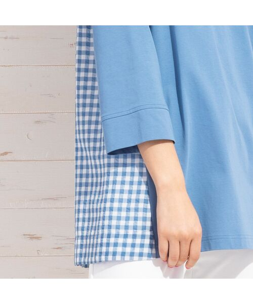 PISANO / ピサーノ カットソー | プレミアムコットン・ギンガムチェックコンビTシャツ | 詳細15