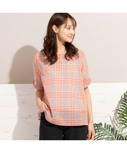 PISANO / ピサーノ シャツ・ブラウス   シアローンチェック・タック袖ブラウス(オレンジ)
