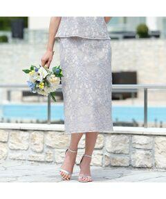 <b>◆結婚式・パーティ・二次会/大きいサイズ/L・LL◆<br><font color='#ff3366'>■履くだけで美しくエレガント、オーナメントレースのスカート■</font></b><br><br>膝がしっかり隠れる長め丈で、上品に着こなせるエレガントなレーススカート。<br>2色を掛け合わせて作る、コットン/ナイロンのコードレースを使用しています。<br>裏地を配色にしているので、オーナメント柄が美しく浮かび上がり、着映え間違いなし!<br>ウエストはサテンで切り替えて、スッキリとさせています。<br>後ろはゴムを入れてあるので楽な履き心地。<br>少しだけ裾が広がったストレート風のシルエットが今年らしく、コーディネート全体をバランス良く仕上げてくれます。<br><br><b><font color='#ff3366'>■コーディネート</font></b><br>シリーズのトップス[品番:56032109]と合わせれば、華やかなワンピース風の着こなしに。<br>カーデ[品番:56033007]を羽織ってお出掛けやセレモニーにもオススメの上品スタイルの完成です。<br>デイリーにはTシャツやGジャンと合わせてカジュアルダウンさせた着こなしも、大人っぽくてオススメです。<br>裏地付きなので、透けを気にせず安心して着ていただけます。<br><br><b>◆カラー</b><br>グレー=ブルーグレー×ベージュ、裏地(ベージュ)<br>ブラック=ブラック、裏地(ライトグレー)<br>[モデル身長173センチ]<br><br><b><font color='#ff3366'>■商品特性■</font></b><br>生地感: やや薄手<br>伸縮性: あり<br>透け感: なし<br>光沢感: なし<br><br>ウエスト: 後ろウエストゴム(左脇ファスナー開き)<br>裏 地 : あり<br><br><b><font color='#ff3366'>■洗濯■</font></b><br>ドライ=取り扱いについては商品についている洗濯表示でご確認ください<br><br><b><font color='#ff3366'>■PISANO BrandConcept■</font></b><br>トレンドに敏感でありながら、柔らかく優美なデザインで'かしこまりすぎず、飾りすぎない'どこか余裕のある大人の女性らしさを追い求めるブランドです。<br>◆Lサイズ/LLサイズ(13~17)号展開<br>◆3Lサイズ(19~21号)は一部商品限定展開<br><br>※モデル画像はサンプルを使用している為、実際にお届けする商品と仕様が若干異なる場合がございます。<BR>
