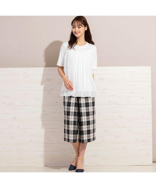 PISANO / ピサーノ カットソー   チュール重ねバルーン・クラシック天竺Tシャツ   詳細1