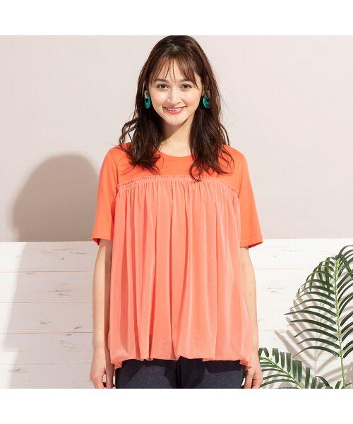 PISANO / ピサーノ カットソー   チュール重ねバルーン・クラシック天竺Tシャツ(オレンジ)