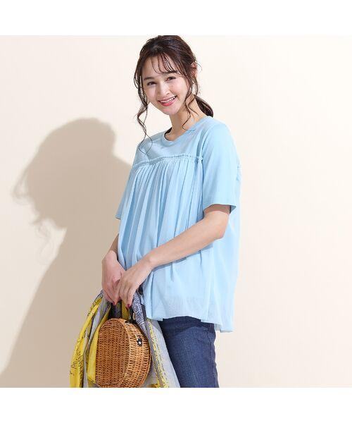 PISANO / ピサーノ カットソー   チュール重ねバルーン・クラシック天竺Tシャツ(ライトブルー)