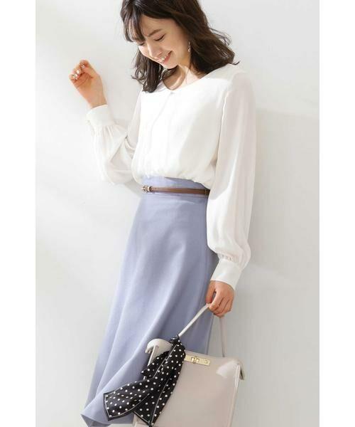 PROPORTION BODY DRESSING / プロポーションボディドレッシング  スカート | ベルト付きフレアスカート(ブルー)