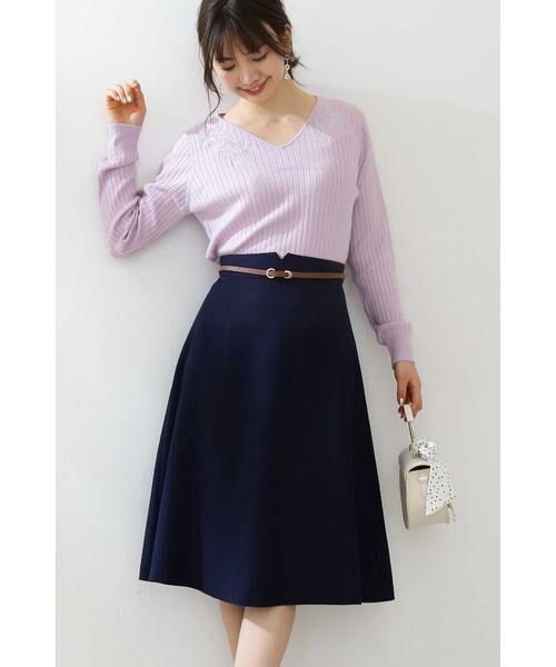 PROPORTION BODY DRESSING / プロポーションボディドレッシング  スカート | ベルト付きフレアスカート(ネイビー)