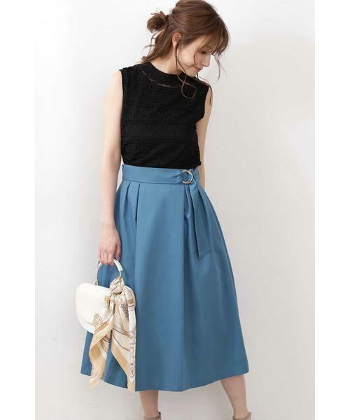 PROPORTION BODY DRESSING / プロポーションボディドレッシング  スカート   ◆リングベルトフレアスカート(ピーコックグリーン1)