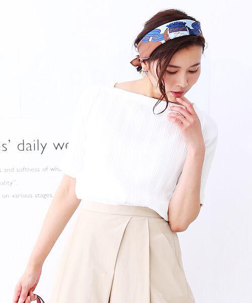 qualite / カリテ Tシャツ | ランダムテレコ5分袖プルオーバー(ホワイト)