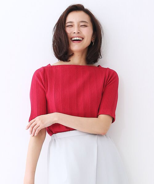 qualite / カリテ Tシャツ | ランダムテレコ5分袖プルオーバー(ローズ)