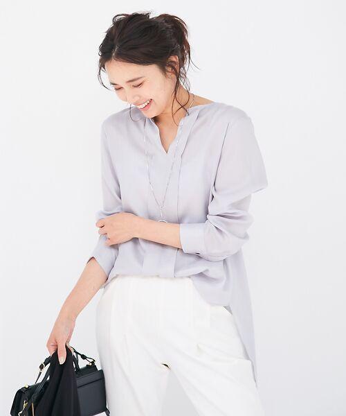 qualite / カリテ シャツ・ブラウス | バックスリットシャツ(ライトグレー)