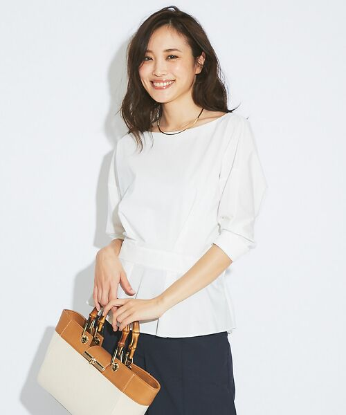 qualite / カリテ Tシャツ | バックギャザーカットソー(ホワイト)