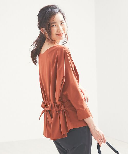 qualite / カリテ Tシャツ | バックギャザーカットソー(ブラウン)
