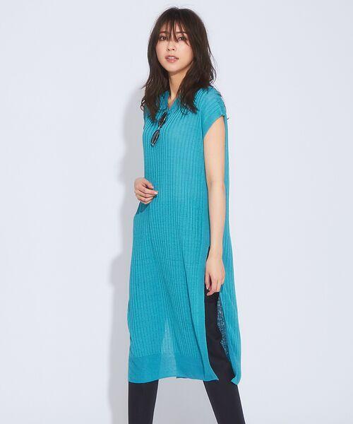 qualite / カリテ ニット・セーター | メランジリネンロングリブニット(ブルー)