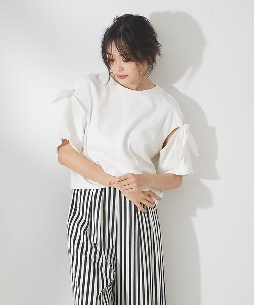 qualite / カリテ Tシャツ | リボン切り替え2WAYカットソー【予約】(オフホワイト)