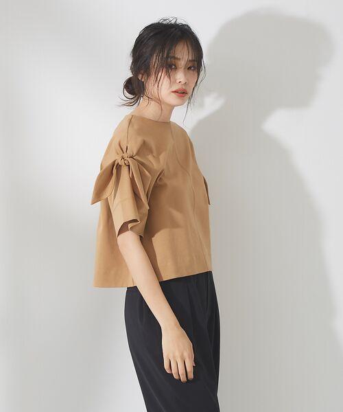 qualite / カリテ Tシャツ | リボン切り替え2WAYカットソー【予約】(パーシモン)
