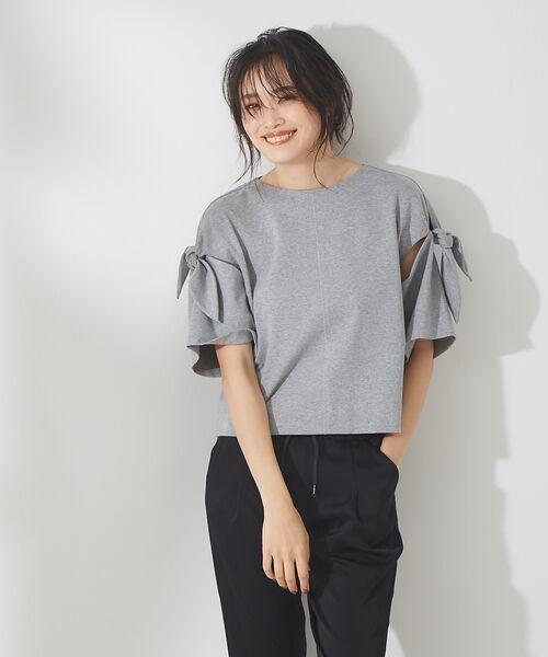 qualite / カリテ Tシャツ | リボン切り替え2WAYカットソー【予約】(グレー)