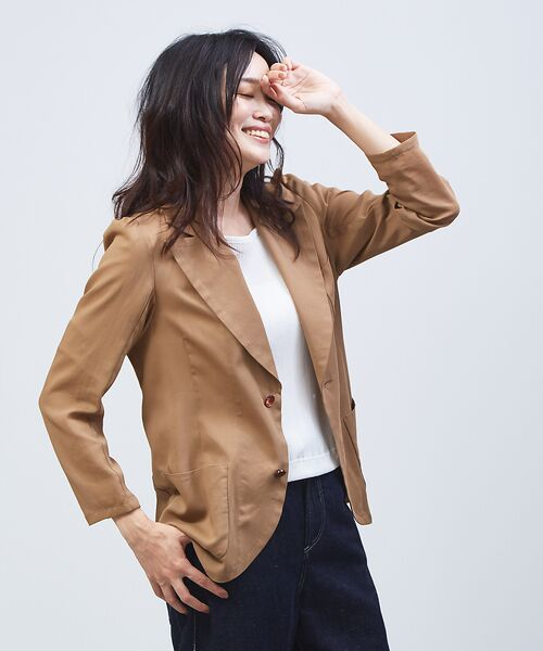 qualite / カリテ テーラードジャケット | オーガンジーシャツジャケット(キャメル)