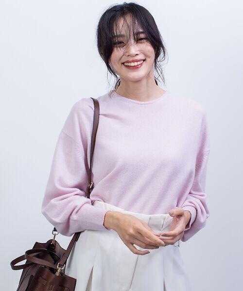 qualite / カリテ ニット・セーター   カシミヤクルーネックニットプルオーバー(ピンク)