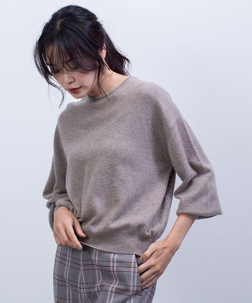 qualite / カリテ ニット・セーター   カシミヤクルーネックニットプルオーバー(アンバー)