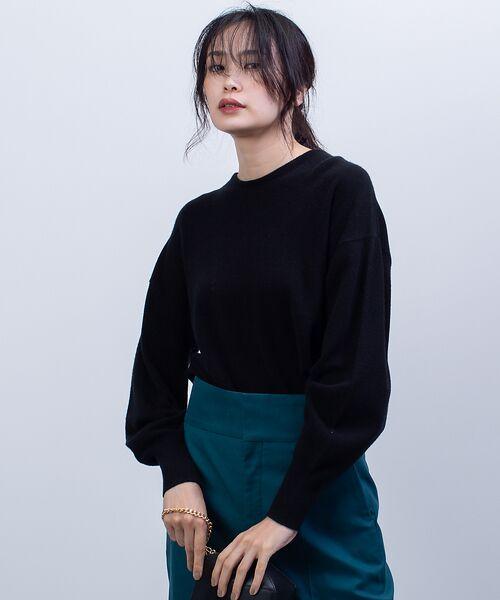 qualite / カリテ ニット・セーター   カシミヤクルーネックニットプルオーバー(ブラック)