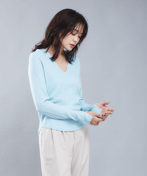 qualite / カリテ ニット・セーター | 【定番】片畔Vネックプルオーバー(サックスブルー)