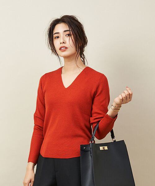 qualite / カリテ ニット・セーター | 【定番】片畔Vネックプルオーバー(ダークオレンジ)