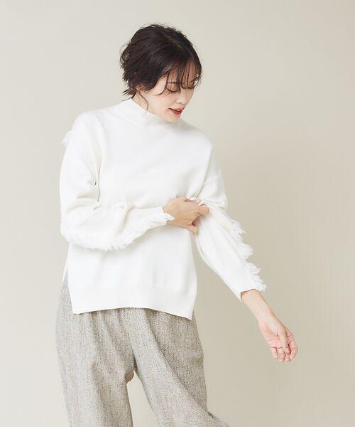 qualite / カリテ ニット・セーター | フリンジスリーブニットプルオーバー(オフホワイト)