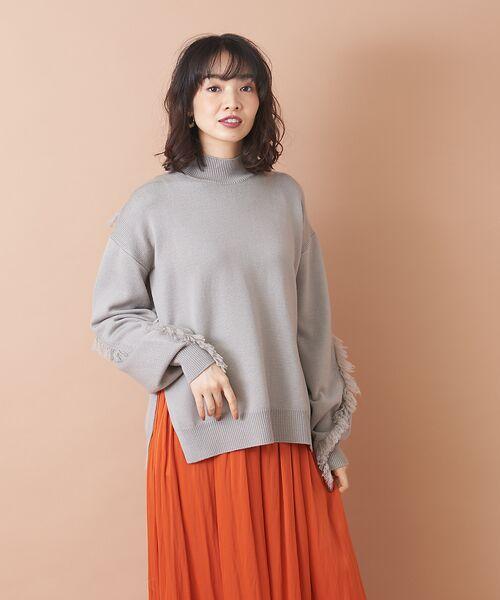 qualite / カリテ ニット・セーター | フリンジスリーブニットプルオーバー(グレー)