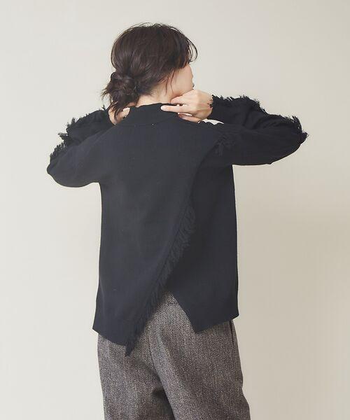 qualite / カリテ ニット・セーター | フリンジスリーブニットプルオーバー(ブラック)