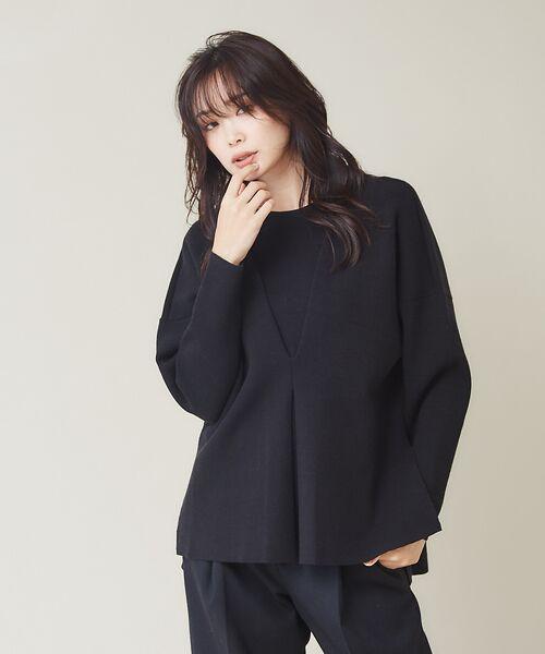 qualite / カリテ ニット・セーター | フロントタックニットプルオーバー【予約】(ブラック)
