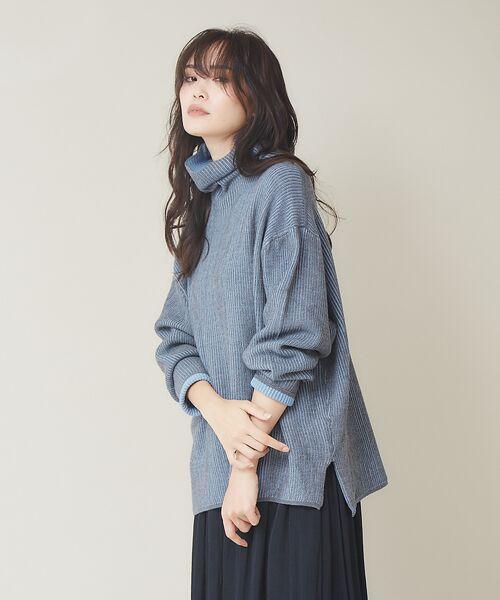 qualite / カリテ ニット・セーター | ストライプジャガードニットプルオーバー(グレー)
