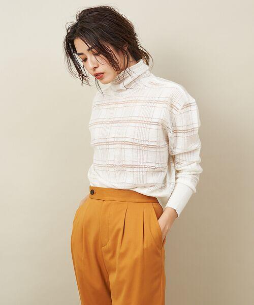 qualite / カリテ ニット・セーター | チェックモヘアニットプルオーバー(ホワイト)