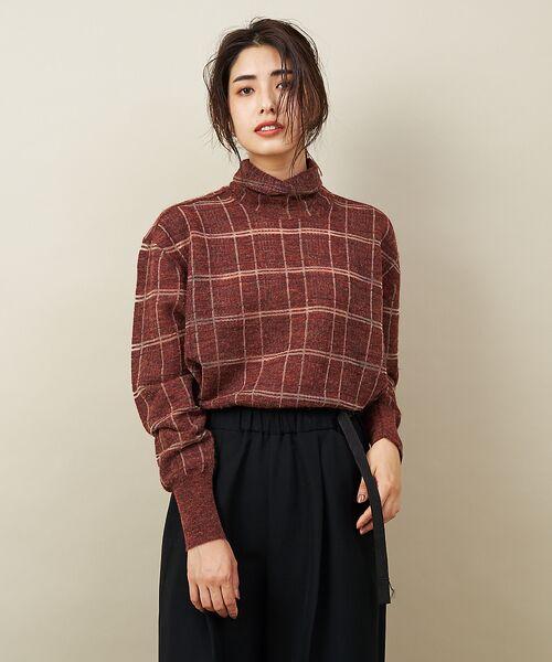 qualite / カリテ ニット・セーター | チェックモヘアニットプルオーバー(ダークオレンジ)