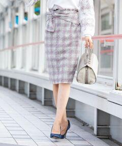 【泉里香ちゃん着用】レース×チェックウエストリボンタイトスカート