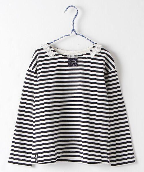 Rag Mart / ラグマート カットソー | 先染めボーダーフリルリボン長袖Tシャツ(ネイビー)