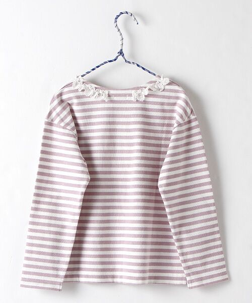 Rag Mart / ラグマート カットソー | 先染めボーダーフリルリボン長袖Tシャツ | 詳細2