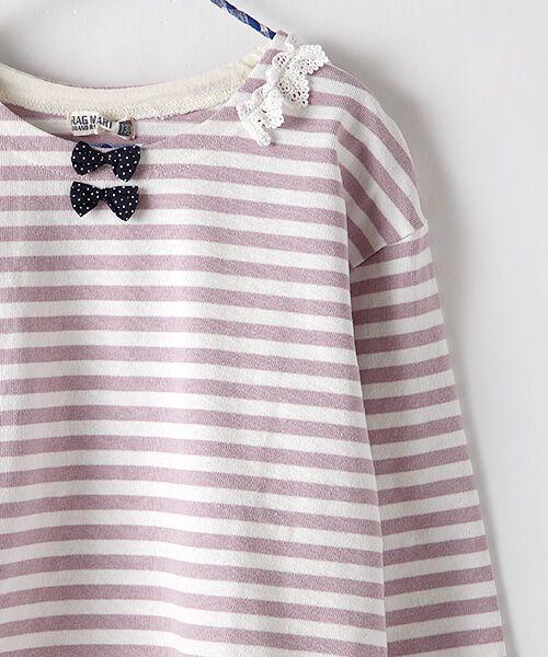 Rag Mart / ラグマート カットソー | 先染めボーダーフリルリボン長袖Tシャツ | 詳細3