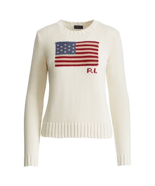 POLO RALPH LAUREN / ポロ ラルフ ローレン ニット・セーター | フラッグ コットン セーター(C42ホワイト)