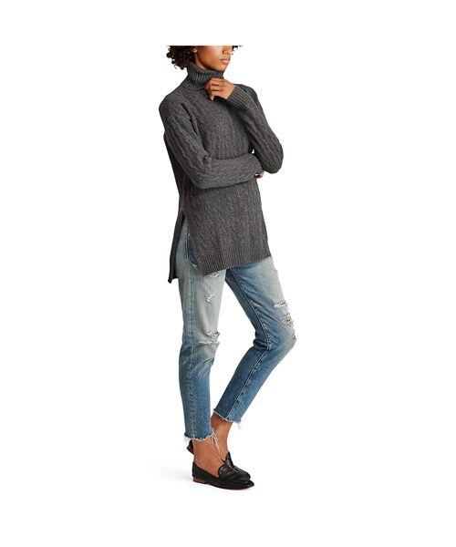 POLO RALPH LAUREN / ポロ ラルフ ローレン ニット・セーター | スリット ケーブル タートルネック セーター | 詳細6