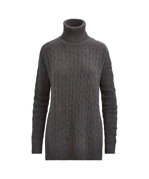 POLO RALPH LAUREN / ポロ ラルフ ローレン ニット・セーター | スリット ケーブル タートルネック セーター(D86グレー)