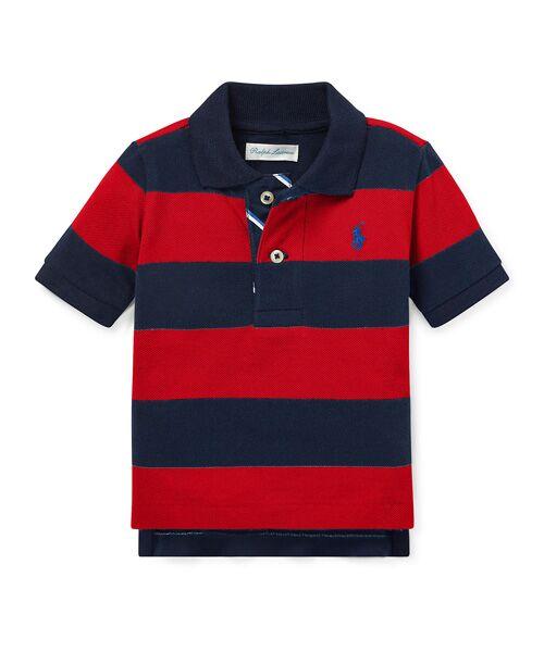 POLO RALPH LAUREN / ポロ ラルフ ローレン ポロシャツ | (ベビー)ストライプド コットン メッシュ ポロシャツ(E49レッド)