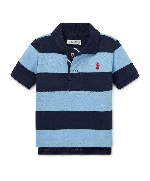 POLO RALPH LAUREN / ポロ ラルフ ローレン ポロシャツ | (ベビー)ストライプド コットン メッシュ ポロシャツ(B36ブルー)