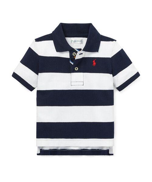 POLO RALPH LAUREN / ポロ ラルフ ローレン ポロシャツ | (ベビー)ストライプド コットン メッシュ ポロシャツ(B90ネイビー)