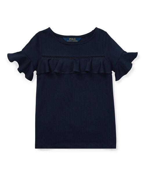 POLO RALPH LAUREN / ポロ ラルフ ローレン Tシャツ | (ガールズ 2才~4才)ラッフルド ヨーク トップ(B82ネイビー)