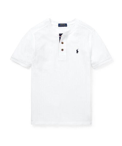 POLO RALPH LAUREN / ポロ ラルフ ローレン Tシャツ | (ボーイズ 8才~20才)コットン メッシュ ヘンリーネック シャツ(E86ホワイト)